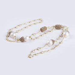 оболочки жемчужина из бисера ожерелья, с полимерной глиной горный хрусталь, натуральный пресноводный жемчуг и латунные находки, цвет морской раковины, 37 (94 см)(NJEW-P207-08)