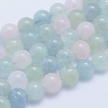 Natural Morganite Beads Strands, Round, Grade A+, 8~8.5mm, Hole: 1mm; about 51pcs/strand, 15.7inches(40cm)(G-L478-28-8mm)