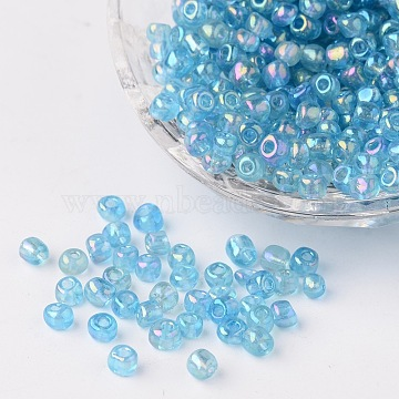 6/0 Transparent Rainbow Colours Round Glass Seed Beads, Aqua, Size: about 4mm in diameter, hole:1.5mm, about 495pcs/50g(X-SEED-A007-4mm-163)