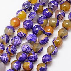 Natural Fire Agate Bead Strands, Round, Grade A, Faceted, Dyed & Heated, Mauve, 10mm, Hole: 1mm; about 37pcs/strand, 15