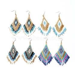 perles de rocaille japonaises faites à la main pendantes, boucles d'oreilles pompon, avec crochets d'oreilles en laiton, losange, couleur mélangée, 102~107 mm; broches: 0.7 mm(EJEW-JE03346-M)