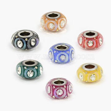 Handmade Polymer Clay European Beads, with Rhinestone and Platinum Color Double Brass Core, Large Hole Beads, Rondelle, Mixed Color, 14x8mm, Hole: 5mm(FPDL-D001-M2)