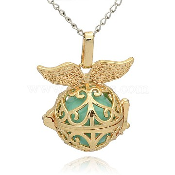 Golden Tone Brass Hollow Round Cage Pendants, with No Hole Spray Painted Brass Ball Beads, Medium Turquoise, 28x27x20mm, Hole: 3x8mm(KK-J237-02G)