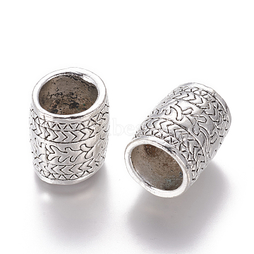 Alloy Tube Beads, Large Hole Beads, Antique Silver, 21.5x18~18.5mm, Hole: 13mm(PALLOY-I165-22AS)