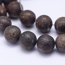 "Brins de bronzite natrual, mat, rond, 8mm, trou: 1mm; environ 48 pcs/chapelet, 15.5""(G-D745-8mm)"