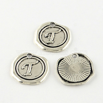 Flat Round Tibetan Style Alloy Letter Pendants, Lead Free & Cadmium Free, Antique Silver, Letter.T, 18.5x18x1.5mm, Hole: 2mm(X-TIBEP-R344-T-RS)