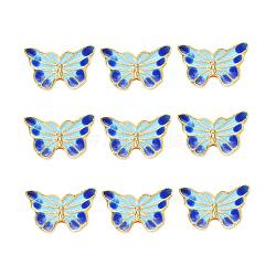 Perles en émail d'alliage de style chinois, papillon, or, colorées, 9.5x15.5x4mm, Trou: 1.6mm(X-ENAM-L015-16C-G)