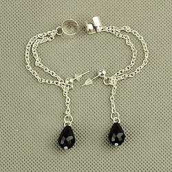 boucles d'oreilles en verre, avec des chaînes de câble de fer, pièces en laiton et écrous d'oreilles en plastique, noir, 60 mm(EJEW-JE00560-02)