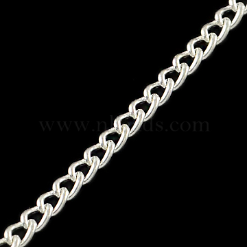 Unwelded Iron Twisted Chains, Curb Chains, with Spool, Silver Color Plated, 3.3x2.1x0.6mm, about 328.08 Feet(100m)/roll(CH-R078-09S)