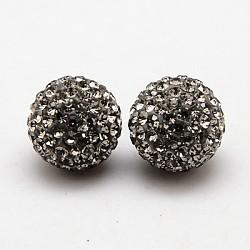 Clous d'oreilles en argent sterling avec strass en cristal autrichien, avec des noix de l'oreille, rond, 215 _ diamant noir , 12mm, pin: 0.8 mm(SWARJ-D470-215)