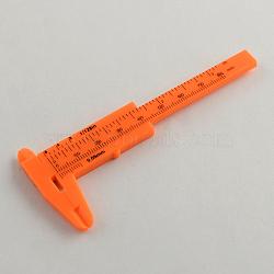 Vernier plastique, orange rouge , 10.5x4.4x0.5 cm(X-TOOL-R084)