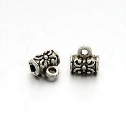 Colonne en alliage de style tibétain fleur sculptée perles bélière attache breloque, argent antique, 7x7x5mm, Trou: 1mm(X-TIBEB-O004-50)