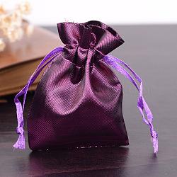 Sacs en tissu rectangle, avec cordon de serrage, violet, 9x6.5 cm(X-ABAG-R007-9x7-02)