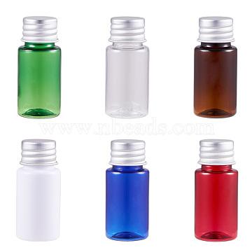 BENECREAT 10ml PET Plastic Liquid Bottle Sets, Flat Shoulder, with Aluminum Screw Caps, Mixed Color, 53x23mm(MRMJ-BC0001-31)