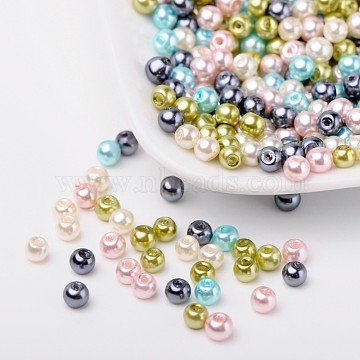 Pastel Mix Pearlized Glass Pearl Beads, Mixed Color, 4mm, Hole: 1mm; about 400pcs/bag(HY-X006-4mm-12)