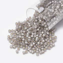 Miyuki® delica beads, perles de rocaille japonais, 11 / 0, (db 1456) opale taupe clair doublée d'argent, 1x1.5 mm, trou: 0.5 mm; sur 2000 pcs / bouteille(SEED-S015-DB-1456)