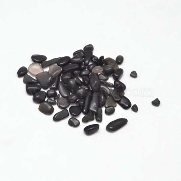 Natural Obsidian Chip Beads, No Hole/Undrilled, 3~9x1~4mm(X-G-L453-08)