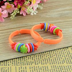 """Bijoux de jour pour enfants, enfants des bracelets bracelet acryliques, orange foncé, 1-3/4"""" (44 mm)(X-BJEW-S086-03)"""
