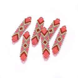 MIYUKI&reg & TOHO&reg Handmade Japanese Seed Beads Links, Loom Pattern, Shuttle Shape, Red, 41.5~42.5x8.5~9x1.7mm, Hole: 2mm(SEED-A027-T08)