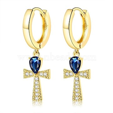 Brass Micro Pave Cubic Zirconia Hoop Earring, Dangle Earrings, Cross, Blue, Golden, 32mm(EJEW-BB66969)