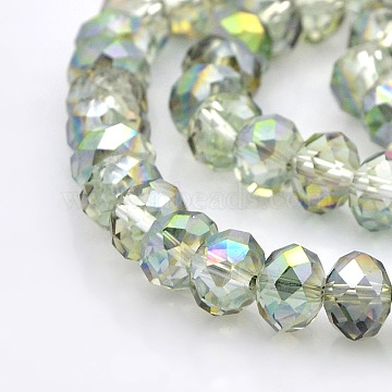 8mm Clear Abacus Electroplate Glass Beads