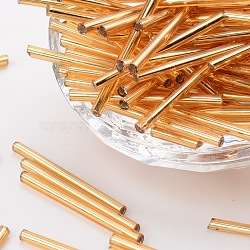 Glass Bugle Beads, Seed Beads, Golden, about 3mm wide, 31~34mm long, hole: 0.4mm; about 155pcs/50g(X-GT001-2)