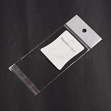Rectangle Cellophane Bags, with Cardboard Earring Display Card, White, 11.5x5cm; Unilateral Thickness: 0.035mm; Inner Measure: 6.5x5cm(OPC-F001-08)