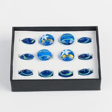 Handmade Lampwork Beads, Flat Round with Starfish/Sea Stars Pattern, Dodger Blue, 20~21x9~11mm, Hole: 2mm, about 12pcs/box(LAMP-F006-06)