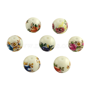 Flower Picture Glass Beads, Round, Mixed Color, 14x13mm, Hole: 1.5mm(GFB-R004-14mm-M)