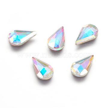 K9 Glass Hotfix Rhinestone, Flat Back & Faceted, Teardrop, Colorful, 10x6x2.7mm(RGLA-K003-01-D-01)