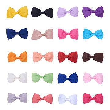 NBEADS Grosgrain Bowknot Alligator Hair Clips, with Iron Alligator Clips, Mixed Color, 80mm, 40pcs/set(PHAR-NB0001-02)
