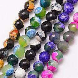 Natural Fire Agate Bead Strands, Round, Grade A, Faceted, Dyed & Heated, Mixed Color, 6mm, Hole: 1mm; about 61pcs/strand, 15