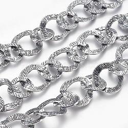 chaînes en alliage de main, non soudée, argent antique, sans nickel, link: sur 18-24 mm de large, 19-24 mm de long, environ35 / brin(CH-CL198Y-NF)