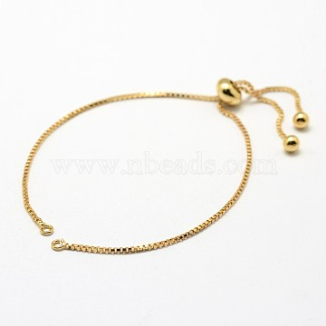 Brass Box Chain Bracelet Making, Slider Bracelets Making, Cadmium Free & Nickel Free & Lead Free, Real 18K Gold Plated, 9-5/8 inches(24.6cm), Hole: 1.5mm, Single Chain Length: 12.3cm(KK-G284-01G-NR)