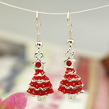 Fashion Earrings for Christmas, with Enameled Alloy Pendants and Brass Earring Hooks, Red, 38mm(X-EJEW-JE00368-01)