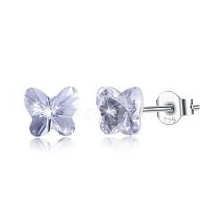 925 boucles d'oreille en argent sterling, avec le cristal autrichien, papillon, sculpté 925, platine, 001 _crystal, 5x5 mm(EJEW-BB30547-B)