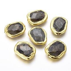 Perles naturelles de labradorite, avec les accessoires en laiton, facette, nuggets, or, 26~27x19~21x6~7mm, Trou: 0.9mm(G-F633-24B)