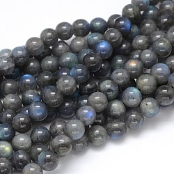 Natural Labradorite Round Bead Strands, Grade AA, 10mm, Hole: 1mm; about 40pcs/strand, 16inches
