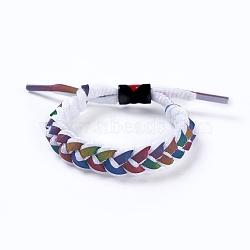 bracelets coulissants tressés en fils de polycoton (polyester coton) réglables, avec les résultats de l'émail en alliage de zinc, coloré, 1-3 / 4 3 cm)(BJEW-P252-E01)