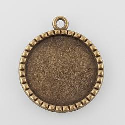 Supports de pendentif de cabochon plat rond en alliage, sans nickel, bronze antique, plateau: 25 mm; 35x30x2 mm, Trou: 2.5mm(X-PALLOY-N0088-69AB-NF)
