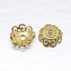 véritables 18 k plaqués or 4 - chapeaux de perles en argent sterling à pétales, fleur, or, 7.5x2.5 mm, trou: 1 mm; environ 100 pcs / 20 g(STER-M100-05)
