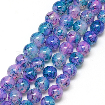 Baking Painted Glass Beads Strands, Imitation Opalite, Round, Lilac, 8mm, Hole: 1.3~1.6mm, about 100pcs/strand, 31.4 inches(X-DGLA-Q023-8mm-DB72)
