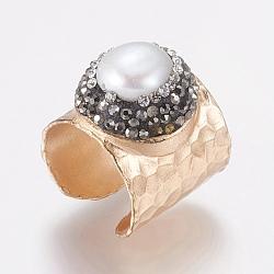 Anneaux en laiton, avec un grade d'argile polymère un rhinestone et perle, réglable, plat rond, taille 8, or rose, 18mm(RJEW-G089-02B)