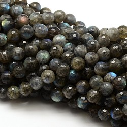 Natural Labradorite Round Bead Strands, Faceted, Grade AAA, 4mm, Hole: 1mm; about 92pcs/strand, 15.5inches