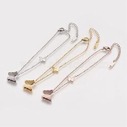 Bracelets de cheville en 304 acier inoxydable, Avec des crochets de homard et des chaînes d'allongement de fer, papillon, couleur mixte, 192mm(AJEW-K009-11)