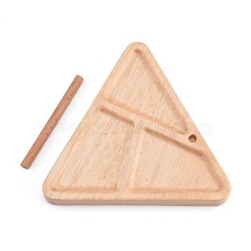 Wooden Weaving Beading Loom Kit, Beading Tray, for DIY Jewelery Making, Triangle, BurlyWood, 99x112x15mm; 66x5mm; 2pcs/set(TOOL-L011-02)