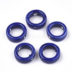 Handmade Porcelain Bead Frames, Bright Glazed Porcelain, Ring, Blue, 15x5mm, Hole: 2mm, 9.5mm Inner Diameter(X-PORC-S499-18B)