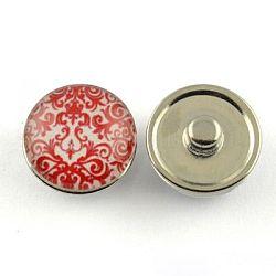 Boutons de bijoux en laiton, avec cabochons de verre, plat rond, de couleur métal platine , cramoisi, 18x9~10 mm; bouton: 5.5~6 mm(X-GLAA-Q030-23)