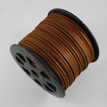 Faux Suede Cord, Faux Suede Lace, with Gold Dust, SaddleBrown, 3x1mm; about 100yards/roll(300 feet/roll)(LW-S014-9)