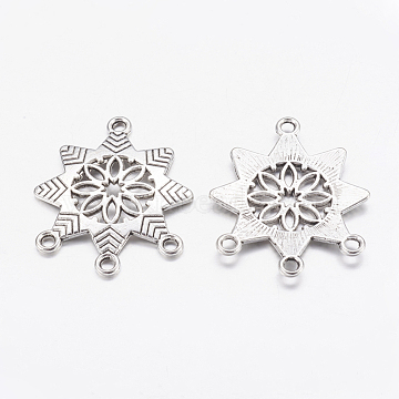 Chandelier Component, Alloy Links, Cadmium Free & Lead Free, Antique Silver, Snowflake, 31mm long, 26mm wide, 2mm thick, hole: 2mm(X-EA481Y)